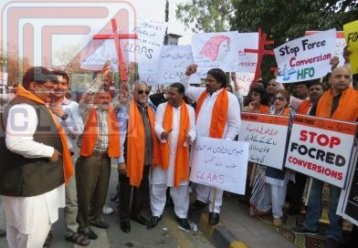 Peaceful demonstration against forced conversion organized by civil society in front of Punjab Assembly Hall, Lahore.